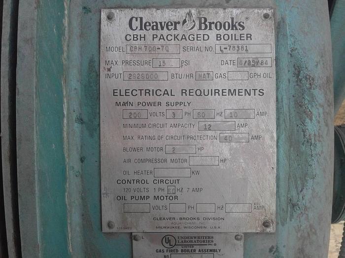 1984 Cleaver Brooks 70 HP 15 PSI Low Pressure propane CBH-700-70