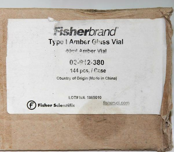 Fisherbrand Glass EPA Vials 02-912-380, PTFE/Silicone Top 40mL NEW Lot (5396)