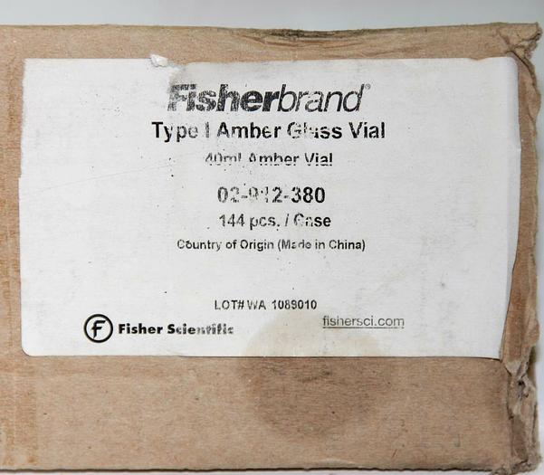 Fisherbrand Glass EPA Vials 02-912-380,PTFE/Silicone Top 40mL NEW Lot 108 (5396)