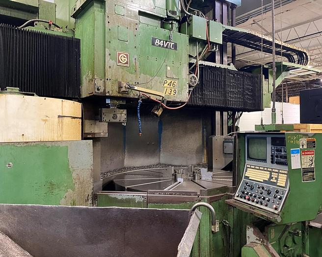 """Used Giddings & Lewis CNC Vertical Boring Mill, Model VTC 84, 84"""" Table, 96"""" Swing, Equipped with Live Spindle and """"C"""" Axis, G&L CNC Control"""