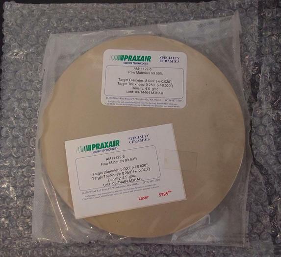 "Praxair Speciality Ceramics Target AM11122-6 99.99% Raw Material 8""x0.25"" (3129)"