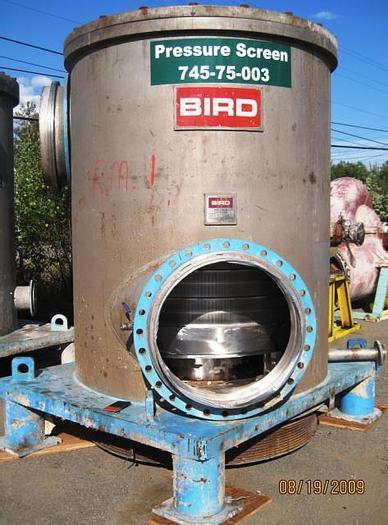 "Used BIRD MDL CN 70 PRESSURE SCREEN, S/S, 100 PSI .018"" (.46MM) SLOT"