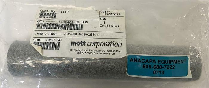 Mott Corp Series 1400 1400-2.000-1.750-09.800 Porous Filter Element New 8713