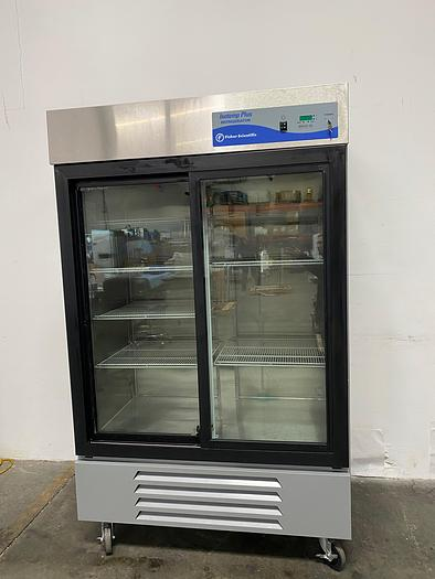 Used Fisher Scientific 13-986-128S Isotemp +4C° Two Glass Door Refrigerator 115V