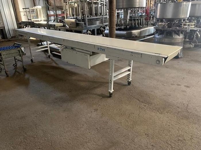 "Used 16.5' Long x 18"" Wide Portable Sanitary Flat Belt Conveyor"