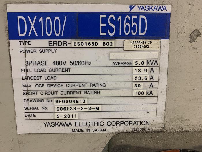 YASKAWA MOTOMAN ES165D 6 AXIS CNC ROBOT WITH DX100 CONTROLLER