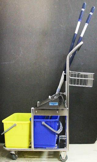 Used Micronova Stainless Steel Cart Double Bucket w/ Vileda Roll-O-Matic Mop LOT 6330