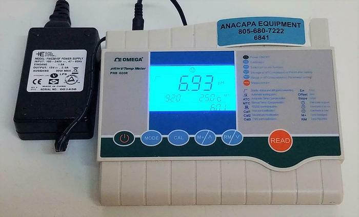 Used Omega PHB-600R Lab pH/mV/Temp Benchtop Meter with Power Supply (6841)
