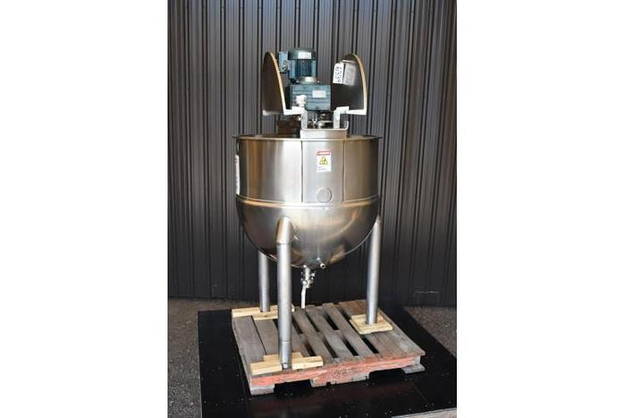 USED 125 GALLON JACKETED KETTLE, 316 STAINLESS STEEL, WITH SCRAPE AGITATION
