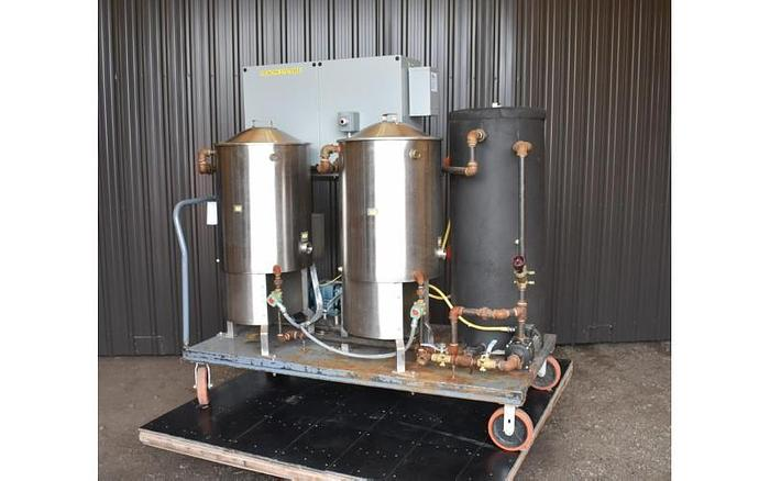 USED SET OF TWIN 25 GALLON SCRAPE AGITATED KETTLES, STAINLESS STEEL, WITH WAUKESHA PUMP & BOILER