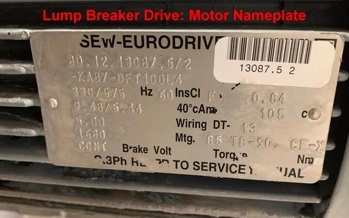 USED MTC SANITARY LUMP BREAKER PACKAGE