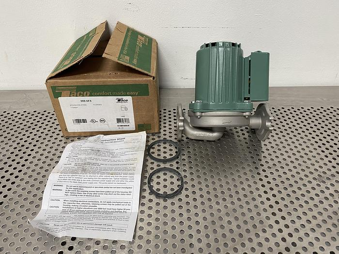 Used Taco 009-SF5 1/8 HP Flanged Hot Water Circulator Pump 120V