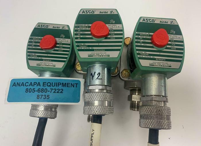 Used Asco Red-Hat II 8210G87V, 8262G226V Solenoid Valve Lot of 3 (8735)W