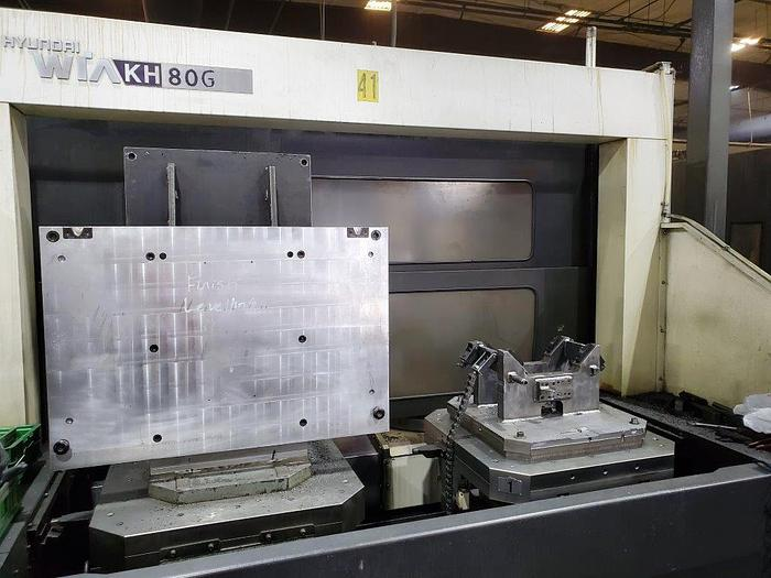 "Used 2013 Hyundai Wia Horizontal Machining Center, Model KH 80G, 31.5"" X 31.5"" Pallet, X=49"", Y=39"", 4500 rpm, 30 hp"