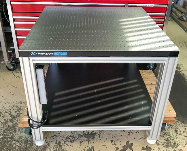 """Used Newport Optical Breadboard Table, on a Extruded Aluminum Base 39-39-35"""" (7594)W"""
