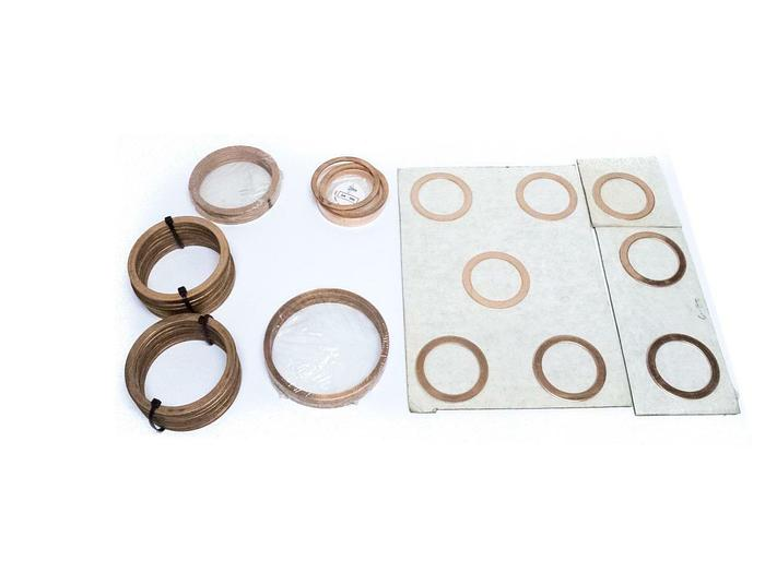 """Used Vacuum Copper Flange Gaskets Lot of 86 4-3/4"""", 3-5/8"""", 5-5/8"""", and 3-3/8"""" (5224)"""