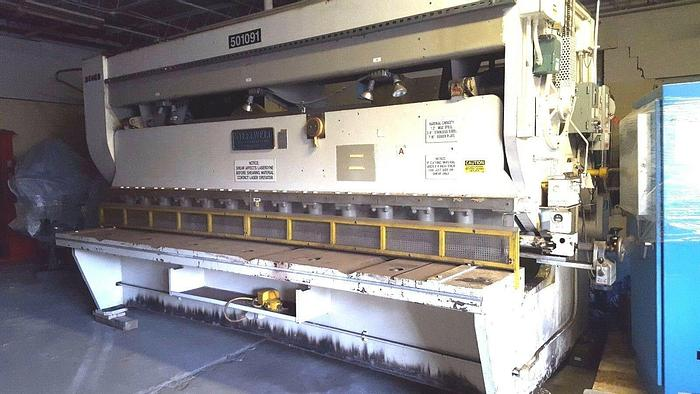 """Used Cleveland Crane Steelweld 8D 12 Foot 1/2"""" Squaring Shear with back gauge MFG USA"""