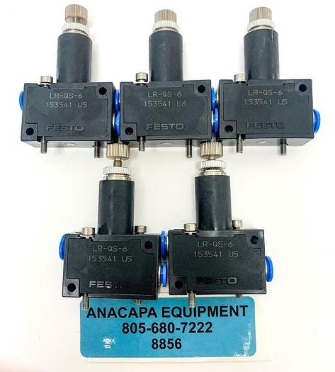 Used Festo LR-QS-6 153541 Pressure Regulator Lot of 5 (8856)W