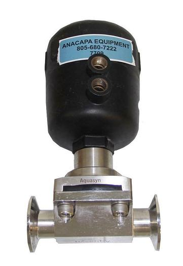 """Used Aquasyn 2"""" Auto Pneumatic Diaphragm Actuated Valve 316L Stainless Sanitary (7709"""