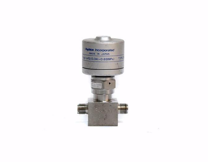 Used Fujikin Diaphragm Valve O.P. 3.5~7kgf/cmG 0.34~0.69MPa Type N.O.  (4434)