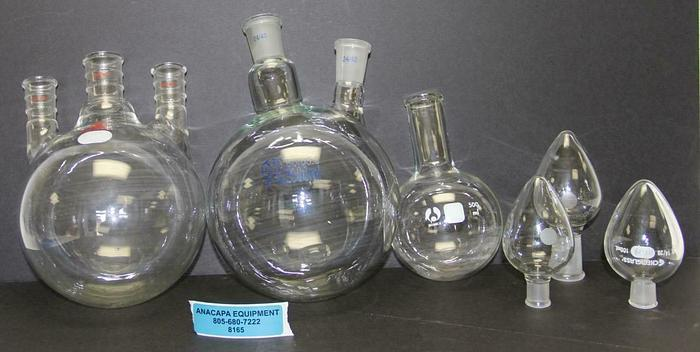 Used Ace Glass 2000ml 3-Neck Round Flask 24/40, Boro3.3 2000ml Flask Lot of 6 (8165)W