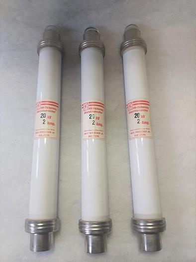 1 Stk HH Überstromsicherung, 20kV, 2A, 53cm lg, Driescher,  neuwertig