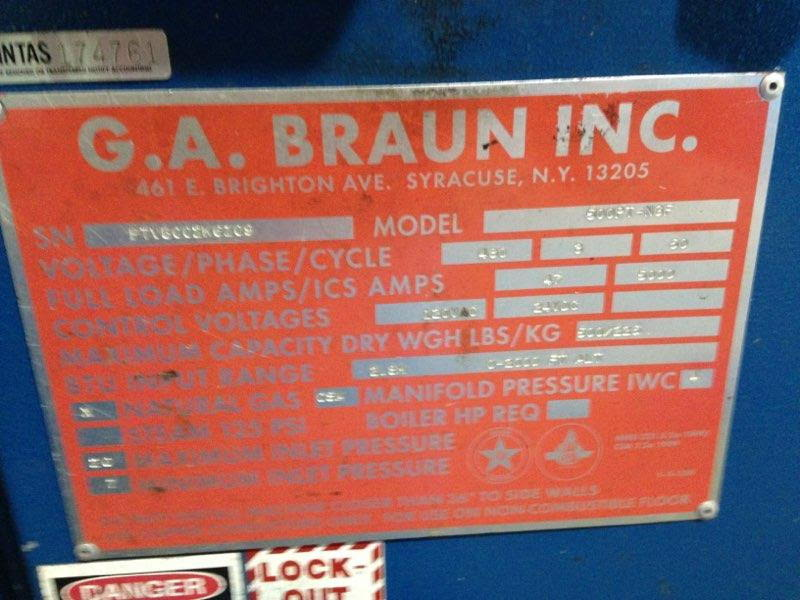 2006 BRAUN 500LB GAS DRYER