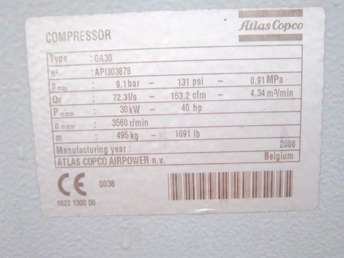 GA30 Atlas Copco Electric Compressor