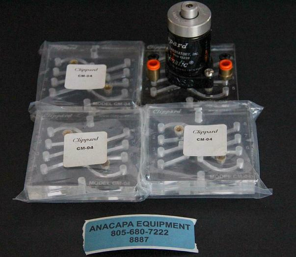 Used Clippard CM-04 Subplates With R334 Minimatic 4-Way Valve Lot of 4 New (8887)W