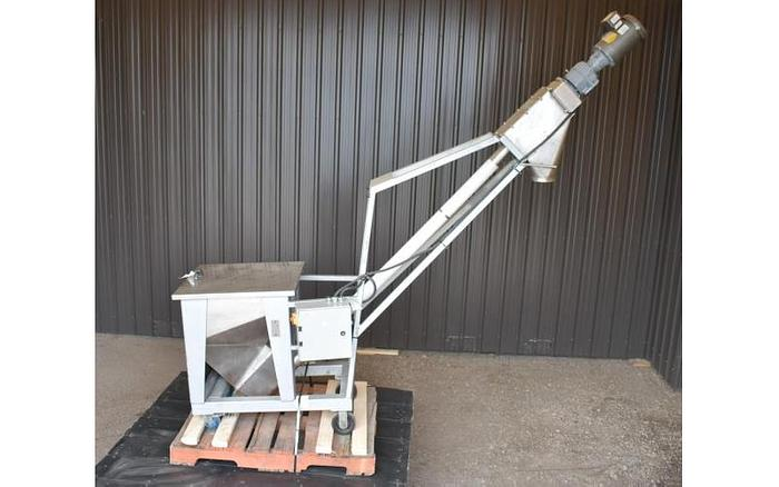 "USED SCREW CONVEYOR, 3"" DIAMETER X 96'' LONG, STAINLESS STEEL WITH HOPPER"