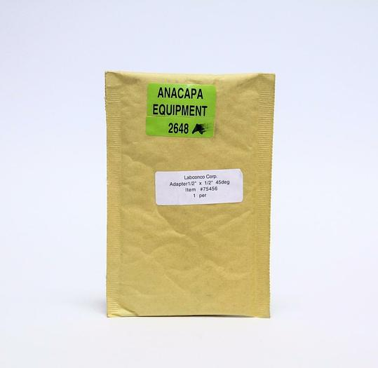 """Labconco 7545600 Adapter 1/2"""" x 1/2"""" Glass 45° NEW Lot of 4 (2648A)"""