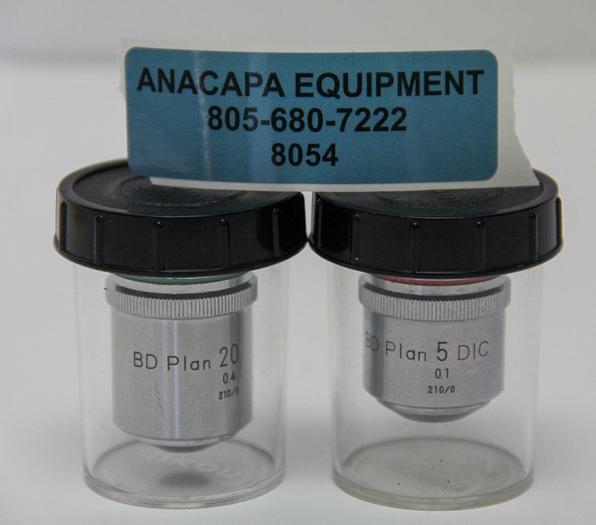 Used Nikon BD Plan 20 0.4 210/0 & BD Plan 5 D 0.1 210/0 Microscope Objectives (8054)W