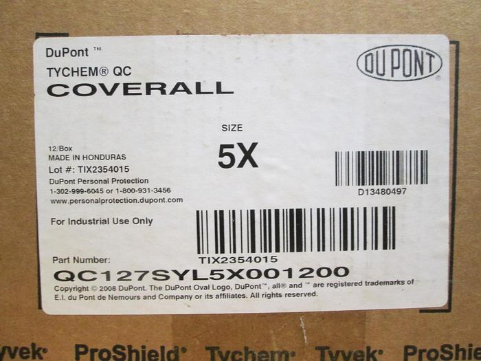 Dupont Tychem Personal Protection Coveralls (PPE)