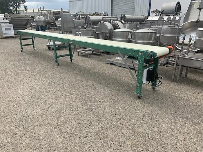 "Used 20' Long x 18""Wide Roach MFG Portable Sanitary Flat Belt Conveyor"