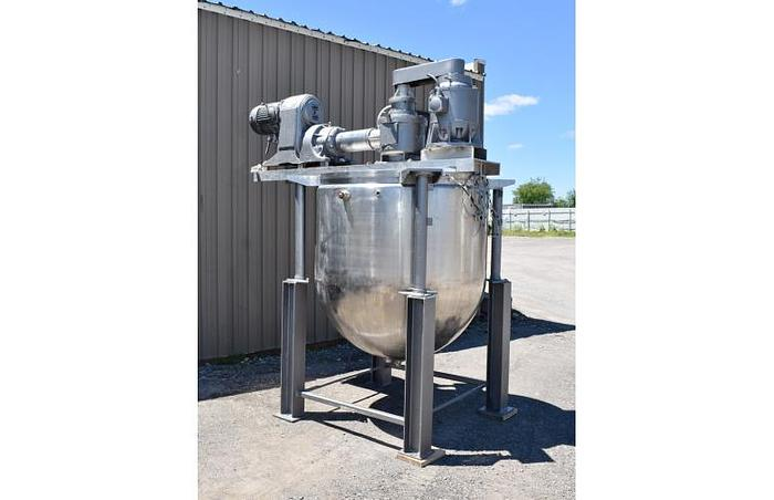 USED 500 GALLON JACKETED TANK (KETTLE), STAINLESS STEEL, TRIPLE MOTION AGITATION, WITH HOMOGENIZER