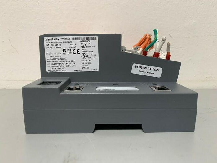 Used Allen Bradley 1734-AENTR EtherNet IP Adapter W/A-B 1734-IB8S Point Safety Inputs