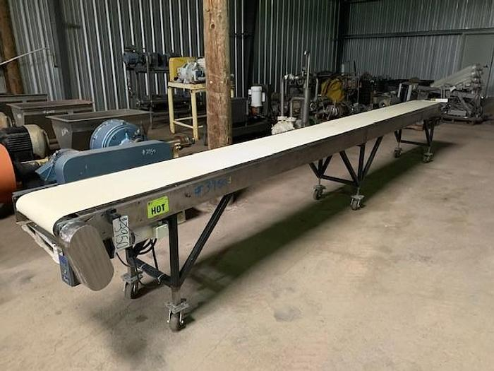 "Used 20' Long x 16""Wide Portable Sanitary Flat Belt Conveyor"