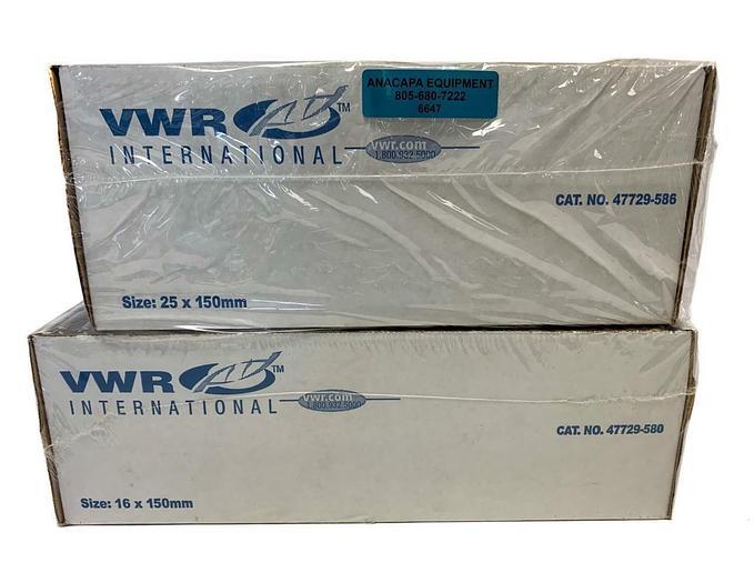 VWR Culture Tubes, 47729-586 16x150mm, 47729-580 25x150mm, Lot of 375 (6647)