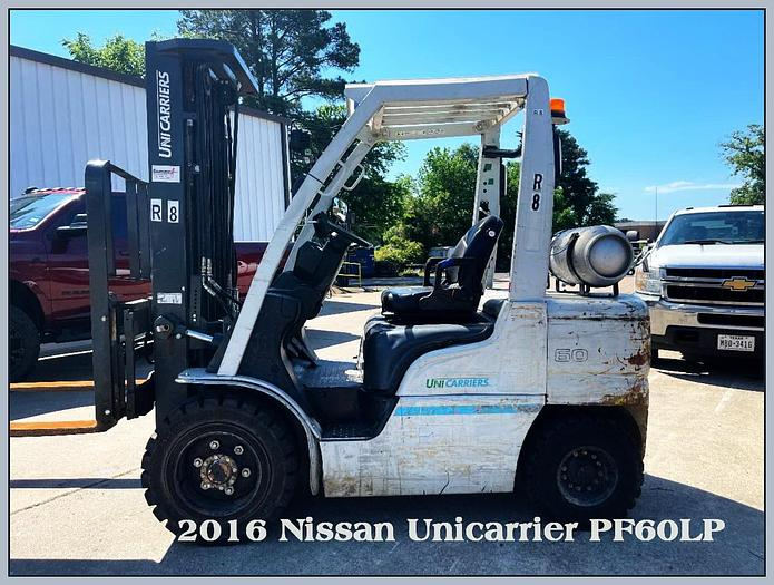 Used 2016 Nissan Unicarrier PF60LP  Lift, 6K Capacity, Pneumatic Tires, 3 stage Mast w/ Side Shift Fork Positioner