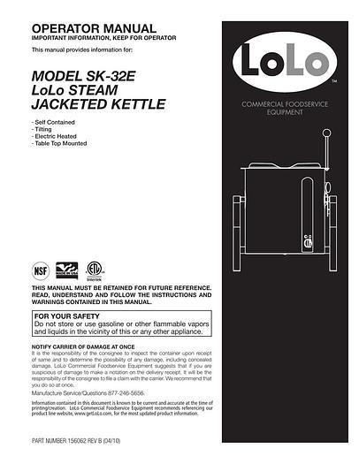 NEW LOLO SK-32E 32 QT/8 GAL STEAM KETTLE TILTING ELEC. 208/240 1-3 PHASE (#745)