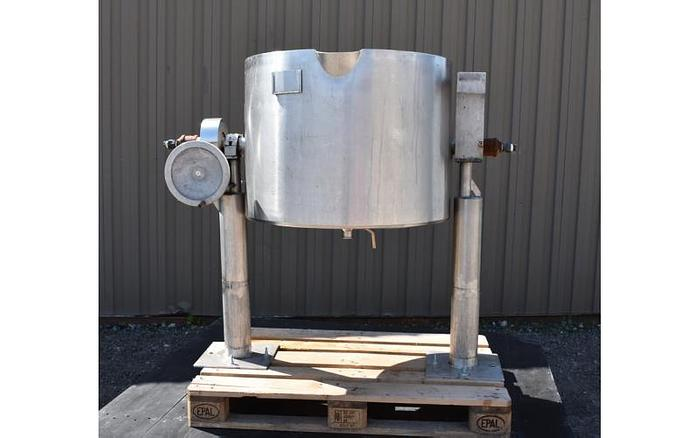Used USED 50 GALLON JACKETED TILTING KETTLE, STAINLESS STEEL