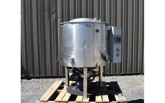 Used USED 50 GALLON JACKETED TANK, STAINLESS STEEL, WITH SCRAPE AGITATION & ELECTRICALLY HEATED JACKET