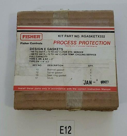 *NEW* Fisher Controls RGASKETX332 Gasket Kit Design E, ER & EZ & EW Gaskets