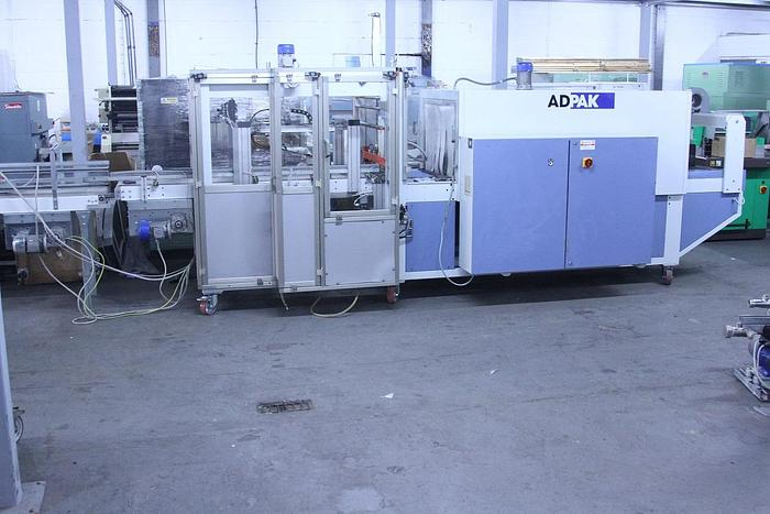 Used Adpak B700 Automatic Sleeve Wrapper with Infeed Conveyor