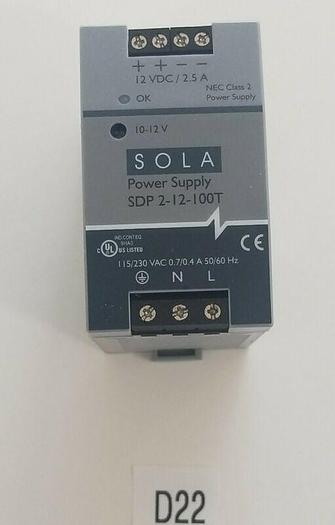Used *PREOWNED* SOLA SDP 2-12-100T NEC Class 2 Power Supply 2.5A 230V 60Hz + Warranty