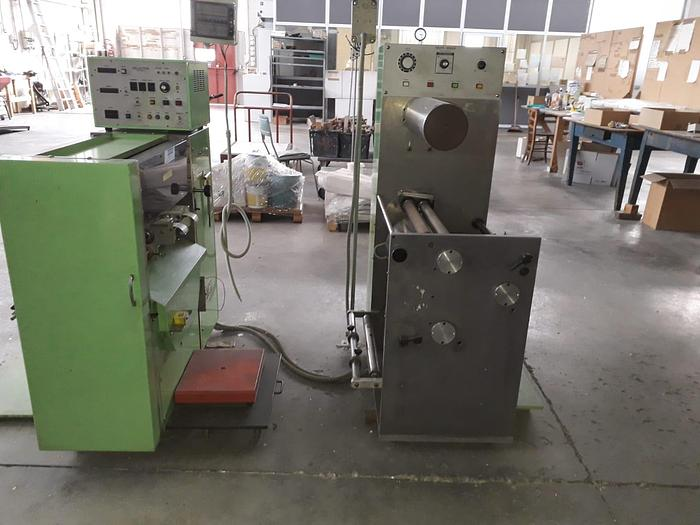 Used 1989 Dimuken DC-8203 Die cutter and DC-8305 Waste rewinder