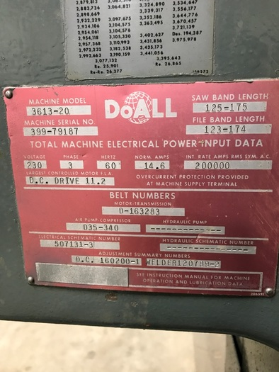 DOALL VERTICAL BAND SAW MODEL 3613-20