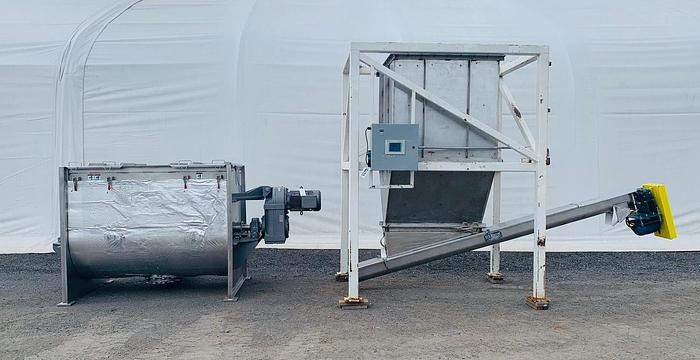 Used USED MARION PADDLE BLENDER, 60 CUBIC FEET, STAINLESS STEEL WITH DISCHARGE HOPPER & CONVEYOR