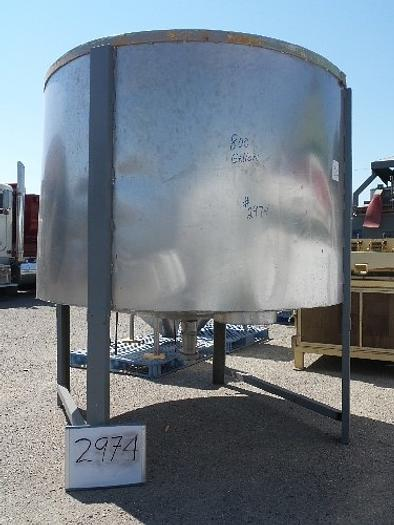 800 Gallon Vertical Stainless Steel Tank #2974