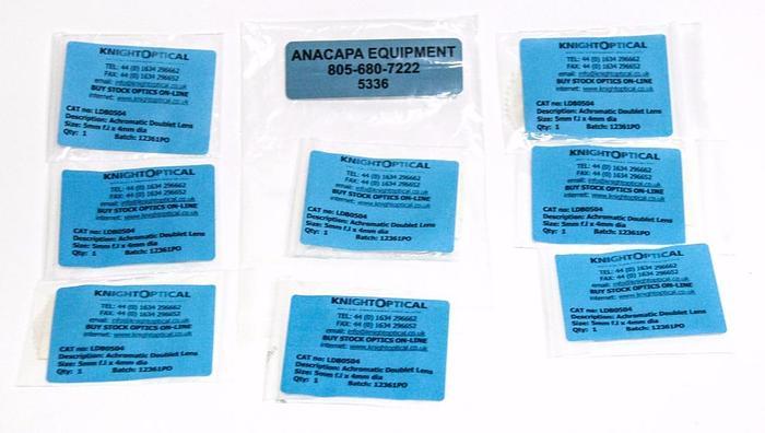 Knight Optical LDB0504 Achromatic Doublet Lens 5mm f.l x 4mm dia Lot of 8 (5336)